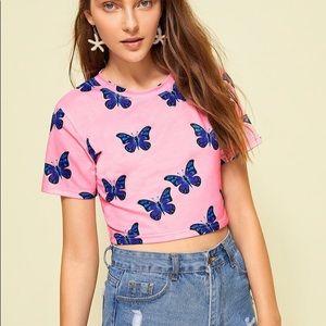 pink blue butterfly crop top tee tshirt shirt new
